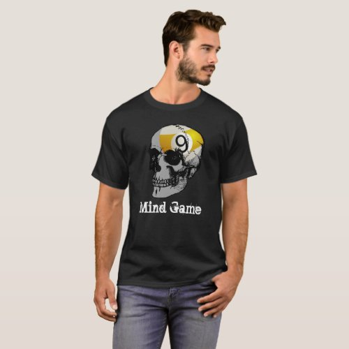Dark Skull 9 Ball Mind Game T_Shirt