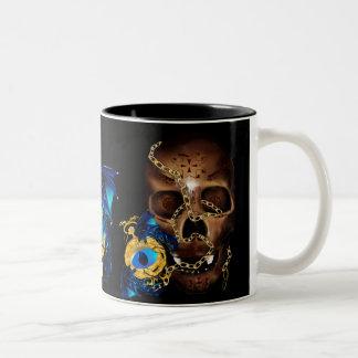 Dark Skull and Evil Eye Gold Watch Two-Tone Coffee Mug
