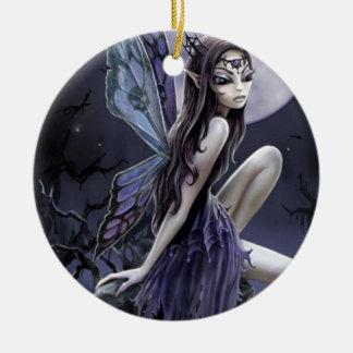 Dark Skull Fairy Double-Sided Ceramic Round Christmas Ornament