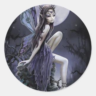 Dark Skull Fairy Round Sticker