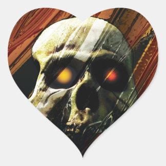 Dark Skull Heart Stickers