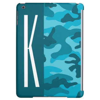 Dark & Sky Blue Camo; Camouflage iPad Air Case