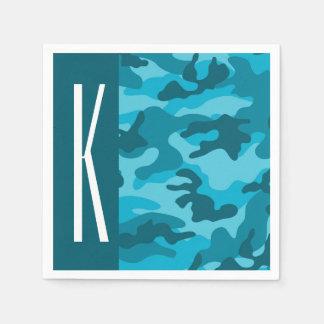 Dark & Sky Blue Camo; Camouflage Paper Napkin
