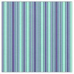 [ Thumbnail: Dark Slate Blue and Aquamarine Striped Pattern Fabric ]