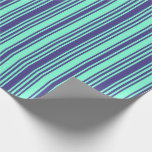 [ Thumbnail: Dark Slate Blue and Aquamarine Striped Pattern Wrapping Paper ]