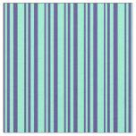 [ Thumbnail: Dark Slate Blue and Aquamarine Stripes Fabric ]