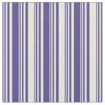 [ Thumbnail: Dark Slate Blue and Beige Colored Stripes Fabric ]