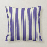 [ Thumbnail: Dark Slate Blue and Beige Striped Pattern Pillow ]