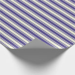 [ Thumbnail: Dark Slate Blue and Beige Striped Pattern Wrapping Paper ]