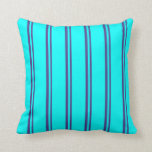 [ Thumbnail: Dark Slate Blue and Cyan Pattern Throw Pillow ]