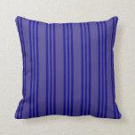 [ Thumbnail: Dark Slate Blue and Dark Blue Stripes Throw Pillow ]