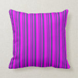 [ Thumbnail: Dark Slate Blue and Fuchsia Colored Lines Pillow ]