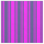 [ Thumbnail: Dark Slate Blue and Fuchsia Lined/Striped Pattern Fabric ]
