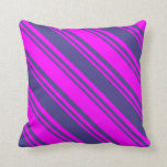 [ Thumbnail: Dark Slate Blue and Fuchsia Lined/Striped Pattern Throw Pillow ]