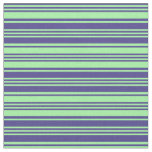 [ Thumbnail: Dark Slate Blue and Green Colored Striped Pattern Fabric ]