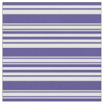 [ Thumbnail: Dark Slate Blue and Mint Cream Striped Pattern Fabric ]
