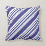 [ Thumbnail: Dark Slate Blue and Mint Cream Striped Pattern Throw Pillow ]