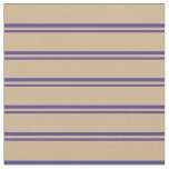 [ Thumbnail: Dark Slate Blue and Tan Colored Lines Pattern Fabric ]