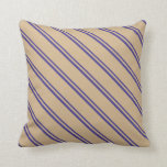 [ Thumbnail: Dark Slate Blue and Tan Colored Lines Pattern Throw Pillow ]