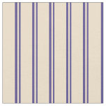 [ Thumbnail: Dark Slate Blue and Tan Colored Stripes Fabric ]
