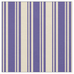 [ Thumbnail: Dark Slate Blue and Tan Lines/Stripes Pattern Fabric ]