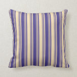 [ Thumbnail: Dark Slate Blue and Tan Lines/Stripes Pattern Throw Pillow ]