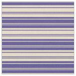 [ Thumbnail: Dark Slate Blue and Tan Striped Pattern Fabric ]