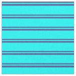 [ Thumbnail: Dark Slate Blue & Aqua Colored Lines Fabric ]