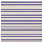 [ Thumbnail: Dark Slate Blue & Beige Colored Lines Fabric ]