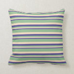 [ Thumbnail: Dark Slate Blue, Bisque, and Dark Sea Green Lines Throw Pillow ]