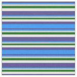 [ Thumbnail: Dark Slate Blue, Blue, Gray, Green & Mint Cream Fabric ]