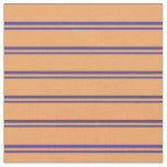 [ Thumbnail: Dark Slate Blue & Brown Colored Lines Pattern Fabric ]