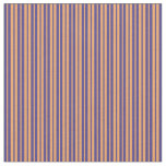 [ Thumbnail: Dark Slate Blue & Brown Colored Striped Pattern Fabric ]