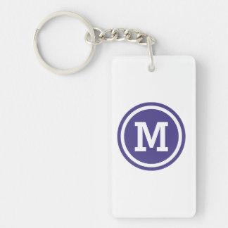Dark Slate Blue Circle Monogram Keychain