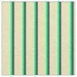 [ Thumbnail: Dark Slate Blue, Dark Green, Green & Tan Stripes Fabric ]