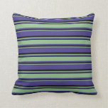 [ Thumbnail: Dark Slate Blue, Dark Sea Green & Black Pattern Throw Pillow ]