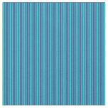 [ Thumbnail: Dark Slate Blue & Dark Turquoise Colored Stripes Fabric ]