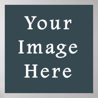 Dark Slate Blue Gray Color Grey Trend Template Poster