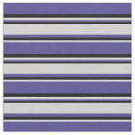 [ Thumbnail: Dark Slate Blue, Light Gray & Black Stripes Fabric ]