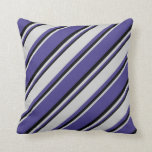 [ Thumbnail: Dark Slate Blue, Light Gray & Black Stripes Pillow ]