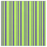 [ Thumbnail: Dark Slate Blue & Light Green Stripes Fabric ]