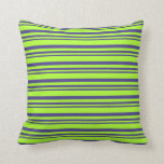 [ Thumbnail: Dark Slate Blue & Light Green Stripes Throw Pillow ]