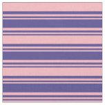 [ Thumbnail: Dark Slate Blue & Light Pink Stripes Fabric ]