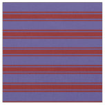 [ Thumbnail: Dark Slate Blue & Maroon Colored Stripes Fabric ]
