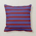 [ Thumbnail: Dark Slate Blue & Maroon Colored Stripes Pillow ]