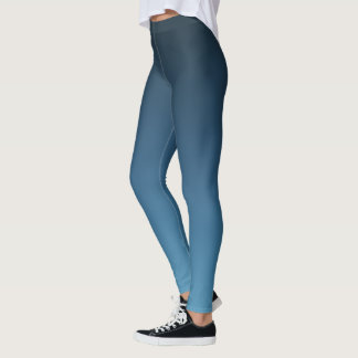 Dark Slate Blue Ombre Gradient Fade Leggings