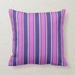 [ Thumbnail: Dark Slate Blue, Orchid & Beige Colored Pattern Throw Pillow ]