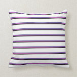 [ Thumbnail: Dark Slate Blue, Orchid, Black & White Lines Throw Pillow ]