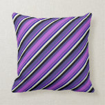 [ Thumbnail: Dark Slate Blue, Orchid, Blue, Beige, and Black Throw Pillow ]