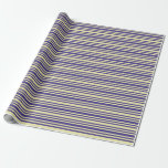 [ Thumbnail: Dark Slate Blue & Pale Goldenrod Colored Stripes Wrapping Paper ]